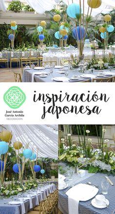 Detalles de la cultura Japonesa, se montaron 2 mesas imperiales con arreglos tipo jardin, alargados con detalles de anturios, gerberas mini, colas de caballo, hortencias, cipres, romero y cañas de bamboo con lamparas de papel en colores masculinos.