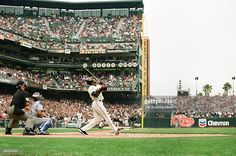 Barry Bonds of the San Francisco Giants bats against the Los Angeles Dodgers at AT