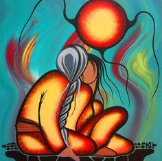 Anishinaabe Medicine painter Simone McLeod/Aki-egwaniizid: The Fire Within (Acrylic on canvas, Native American Paintings, Native American Artists, Kunst Der Aborigines, Woodland Art, Native Design, American Indian Art, American Indians, Southwest Art, Nativity Crafts