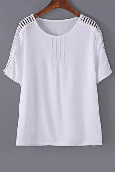 Stylish Round Neck Short Sleeve Hollow Out Women's T-Shirt
