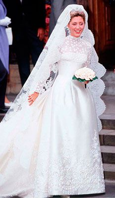 Royal Wedding -- Crown Princess Marie-Chantal of Greece.  More than 25 seamstresses slaved to create this $225,000 ivory silk Valentino gown worn by Crown Princess Marie-Chantal of Greece at her 1995 wedding to Crown Prince Pavlos. The tiara was on loan from Marie-Chantal's new mother-in-law Princess Anne-Marie of Denmark.