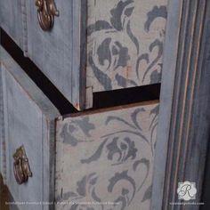 Vintage Furniture Vintage Shabby Chic Furniture Makeover with Leaf and Vine Furniture Stencils - Royal Design Studio Shabby Chic Mode, Shabby Chic Bedrooms, Shabby Chic Kitchen, Vintage Shabby Chic, Shabby Chic Decor, Modern Shabby Chic, Vintage Decor, Rustic Decor, Boy Bedrooms