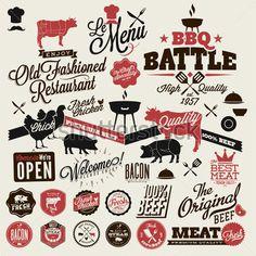 Big set of Vintage BBQ Grill elements - Buy this stock vector and explore similar vectors at Adobe Stock Outdoor Restaurant, Menu Restaurant, Restaurant Design, Bbq Bar, Bbq Grill, Barbecue, Churros, Menu Design, Branding Design