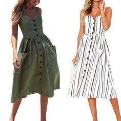 ee62803bd74 Casual Vintage Sundress Women Summer Dress 2019 Boho Sexy Dress Midi Button  Backless Polka Dot Striped