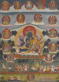Jambhala paubha Distemper on cloth Nepal 23 by 16 in. (58.4 by 40.6 cm)  c. 1800