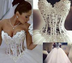 Vestido de baile nuevo Blanco/Marfil Vestido para Boda Nupcial Stock Talla 6-8-10-12-14-16-18