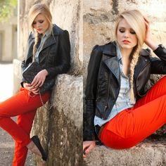 Zara Pants, H Leather Jacket, H Denim Top, Chanel Bag