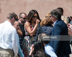 First Lady Michelle Obama arrive on the island of Murano for a tour of a glass factory on June 20, 2015 in Venice, Italy.  Michelle Obama HAS Travelled to Italy is expected to Where She speak about her 'Let's Move initiative to fight childhood obesity.