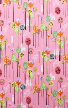 Once Upon a Time AH Fabric Enchanted Forest Lollipop Trees Castle Kingdom on Pink