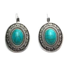 Natural Turquoise French Lever Back Earrings