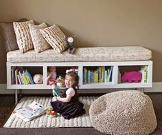 Ikea shelf, turned on its side, legs put on bottom, cushion on top. VOILA.   Great idea for the play room!  (Attempting Aloha: Think outside the {toy} Box - Over 50 Organizational Tips for Kids' Spaces) living rooms, shelving units, book storage, bookcas, playroom, kid rooms, reading nooks, window seats, storage benches