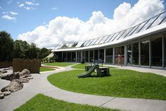 AEC - Architecture of Early Childhood: Te Mirumiru (Ngati Hine) Childcare Centre now finished! Early Childhood Centre, Farm Games, Thermal Mass, Environmental Design, Outdoor Areas, Childcare, Ecology, Natural Materials, Solar Panels