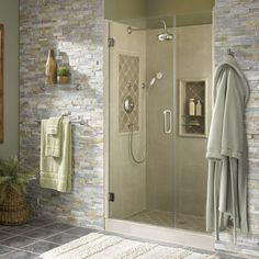 Bring serene, natural beauty into your bathroom with desert quartz natural stone on the walls.