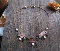 Copper Necklace garnet necklace rustic necklace by MaryBulanova