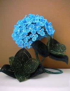 Hydrangea French Beaded Flower by copperglass on Etsy