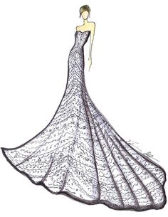 I like the sketch and like the dress, particularly because it has so many patterns in it. I'm  not sure if the dress is to scale or if this drawing was exaggerated so more of the patterns could be included. Cool wedding dress