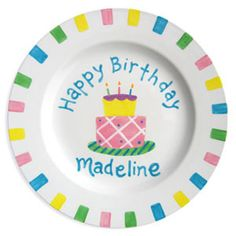 Happy Birthday Cake Personalized Plate for Girls :: For That Occasion