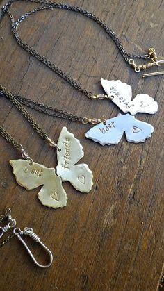Butterfly Best Friends Necklaces by FreyaJewelry on Etsy, $50.00