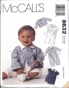 8632 UNCUT Vintage McCalls Sewing Pattern Infant Boys Jacket Romper 2 length HTF #McCalls