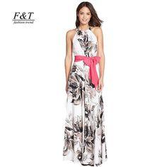 Summer Floral Print Women Dress Sleeveless Beach Dresses Elegant Maxi Dress Vestidos de festa Femininos