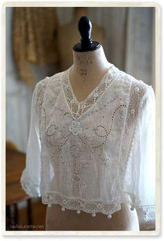 Blouse Vintage, Vintage Lace, Vintage Dresses, Vintage Outfits, Vintage Fashion, Mode Boho, Romantic Outfit, Irish Lace, White Embroidery