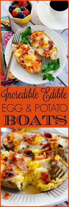 Transform last night's leftover baked potatoes into a delicious breakfast with these cheesy Incredible Edible Egg & Potato Boats. Healthy Egg Recipes, Egg Recipes For Breakfast, Best Breakfast, Brunch Recipes, Breakfast Ideas, Delicious Recipes, Easy Recipes, Breakfast Buffet, Top Recipes