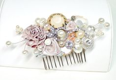 Hey, I found this really awesome Etsy listing at https://www.etsy.com/listing/157347941/blush-bridal-comb-vintage-bridal-hair
