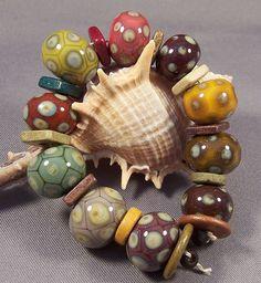 Handmade Lampwork Bead Set  My Organic Garden II by MonasLampwork, $51.00