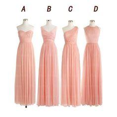 pink bridesmaid dress,long bridesmaid dress,chiffon bridesmaid dress,mismatched bridesmaid dress,BD567