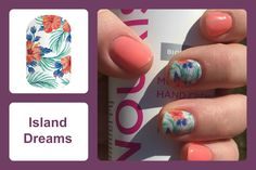 Featuring wispy ferns and bright coral carnations, life's a breeze with 'Island Dreams' at your fingertips! #bevsjamminnails https://bkimball.jamberry.com/us/en/shop/products/island-dreams#.Vwmxx_krJD8
