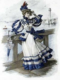 1890s Fashion, Edwardian Fashion, Vintage Fashion, Retro Mode, Mode Vintage, Historical Costume, Historical Clothing, 19th Century Fashion, Edwardian Dress