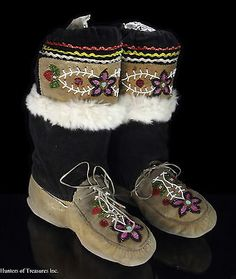 Old Vtg Indian Beaded Boots CREE Native American Beadwork Adult Mukluks Moccasin   eBay