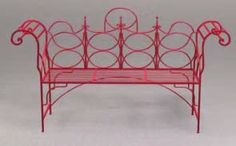 Chippendale Bench in Red Iron