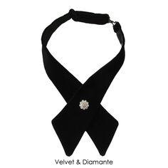 f3128dbd7843 Velvet crossover tie with diamante button Black Button, Black Satin,  Crossover, Ties,