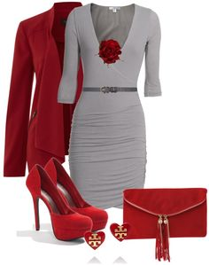 Would need more than a flower to cover the cleavage, but this is an amazing outfit for the office!
