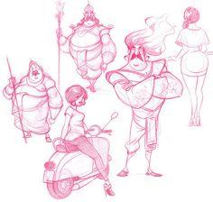 Character Design - Humans - DATTARAJ KAMAT Animation art: Sketches...