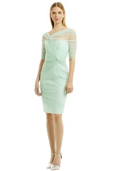 """Mint green asymmetrical tulle sheath ($325, retails for $2,995) Monique Lhullier """"We created another tulle in this season's must-have color,"""" he said. """"It's all about mint this season. This dress, too, has a deconstructed romantic feeling with the draping and ruching."""""""