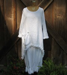 tunic washed linen in white with ruffles by linenclothing on Etsy, $139.00