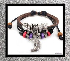NEW - ADJUSTABLE BROWN LEATHER BEADED BOHEMIAN BRACELET WITH SILVER MOON CHARM