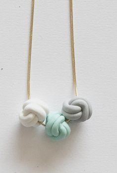 Love Knot Trio Necklace - beautiful handmade polymer clay jewellery by Clay Clasp Diy Fimo, Fimo Clay, Polymer Clay Projects, Polymer Clay Creations, Handmade Polymer Clay, Polymer Clay Necklace, Polymer Clay Beads, Bijoux Diy, Ceramic Jewelry