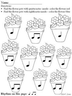 Music Worksheets: Music Math Spring into Rhythm 2 {Flower