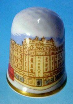 Vintage CAVERSWALL Fine Bone China Thimble HARRODS, London