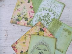 Small notecards  shabby chic  Green and pink Roses  by dkshopgirl, $5.00