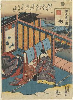 """""""Fireflies"""" (Hotaru), Chap. 25 of the """"Tale of Genji series"""", Utagawa Kunisada (Toyokuni III) (1786-1865) - c. 1845."""