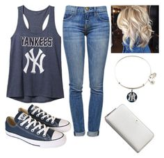 """""""Ny Yankees"""" by parker1126 on Polyvore featuring Current/Elliott, Old Navy, Converse, Alex and Ani and Kate Spade"""