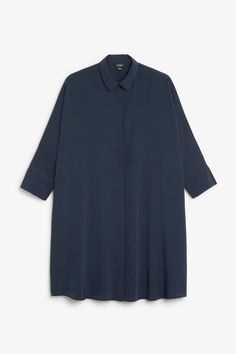 Monki Image 1 of Shirt dress in Blue Reddish Dark
