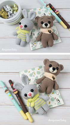 Here you will find interesting ideas and lots of free amigurumi patterns and step-by-step crochet toy tutorials. Using these free crochet animal patterns you can create any animal you want by changing muzzle and ears. The crochet animal patterns suit to Crochet Animal Patterns, Stuffed Animal Patterns, Crochet Patterns Amigurumi, Crochet Dolls, Crochet Bear, Cute Crochet, Crochet Gratis, Crochet Vintage, Beginner Crochet Projects