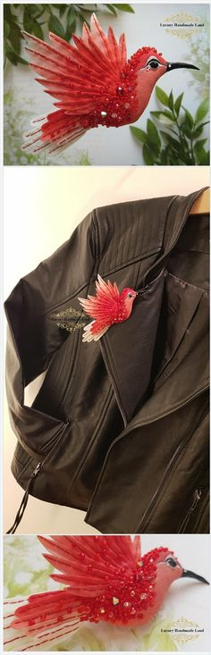 Handmade luxury jewelry brooch textile art https://www.etsy.com/LuxuryHandmadeLand/listing/599041121/3d-bird-brooch-hummingbird-handmade-silk?ref=shop_home_active_4
