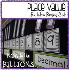 **After many requests, this set now goes to the BILLIONS place value.  All cards are included.Use this set to display place value through the millions (now, billions!) place.  This set also includes cards for decimals to the thousandths. Looking for a different color?