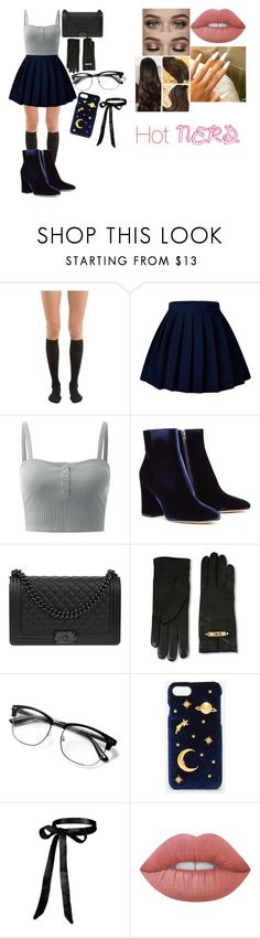 """""""Hot Nerd"""" by lauren-paul-sets ❤ liked on Polyvore featuring Wolford, Gianvito Rossi, Chanel, Moschino, CHARLES & KEITH, Lime Crime, chic, nerd, hot and clueless"""